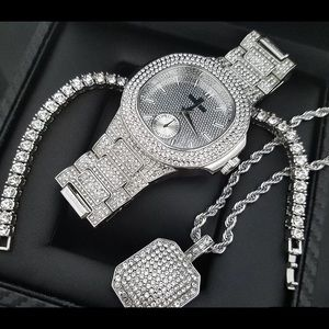 Other - Iced Out White Gold Micro Pave Luxury Watch NEW
